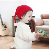 兒童帽 嬰兒帽兒童毛線聖誕帽糖果針織大球可愛精靈長尾巴帽秋冬保暖帽子【多多鞋包店】yp13