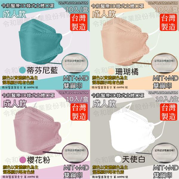 令和 KF 韓式 立體口罩 醫療口罩 醫用口罩 魚型口罩 3D 台灣製造 雙鋼印 成人 10片 KF94