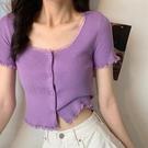 露臍上衣 短袖女2021新款短款露臍鎖骨bm上衣春季心機設計感緊身針織t恤ins 韓國時尚 618
