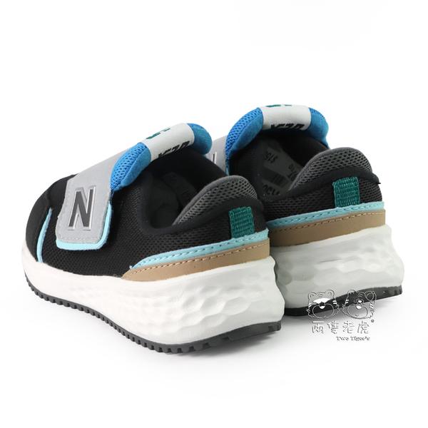 New Balance X-70 黑x藍x灰 魔鬼氈 運動鞋 小童鞋 NO.R5087