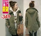【5358】韓版加厚鋪棉中長款燕尾連帽外套 休閒外套 (S-L)