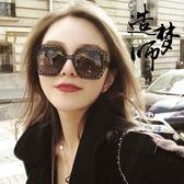 網紅同款方形大框超輕太陽鏡女百搭新款鏤空潮流墨鏡圓臉韓版眼鏡