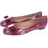 Salvatore Ferragamo Varina 羅緞蝴蝶結飾漆皮娃娃鞋(桃紫色) 1420344-D4