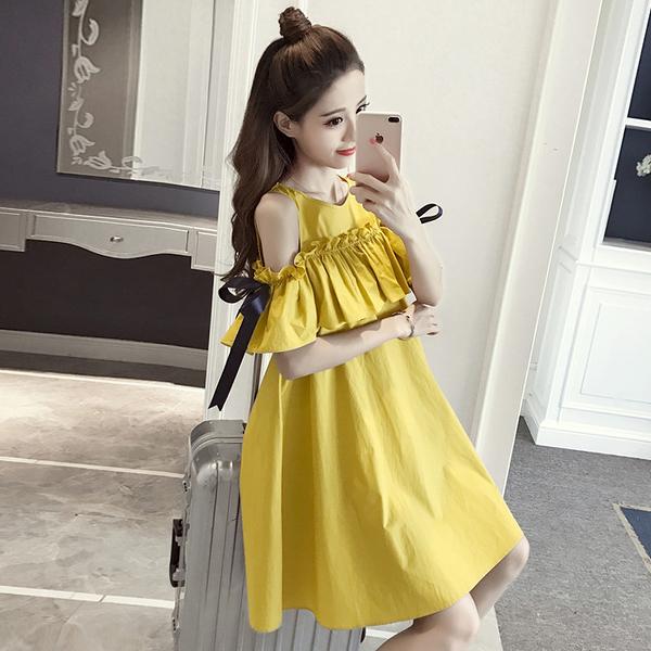 [超豐國際]夏季氣質露肩荷葉邊顯瘦A字裙寬松中長款連衣裙裙子1入