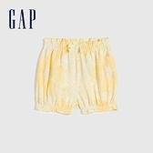 Gap嬰兒 甜美印花純棉鬆緊短褲 669595-淺黃色