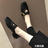 一字扣單鞋女2019春款復古奶奶鞋平底豆豆鞋方頭淺口韓版瑪麗珍鞋『艾麗花園』