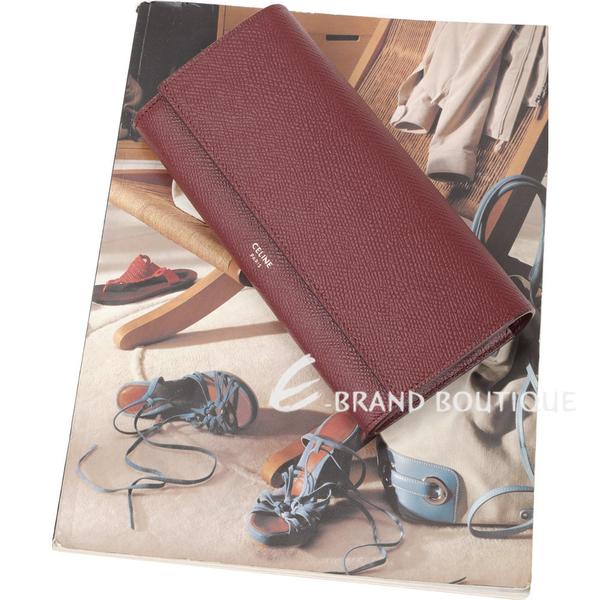CELINE 大型 珠地小牛皮翻蓋釦式長夾(酒紅色) 1930029-74