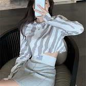 【Charm Beauty】2021年 新款 洋氣 露肚 短款 上衣服ins潮 超火 高腰 長袖t恤 女內搭 打底衫