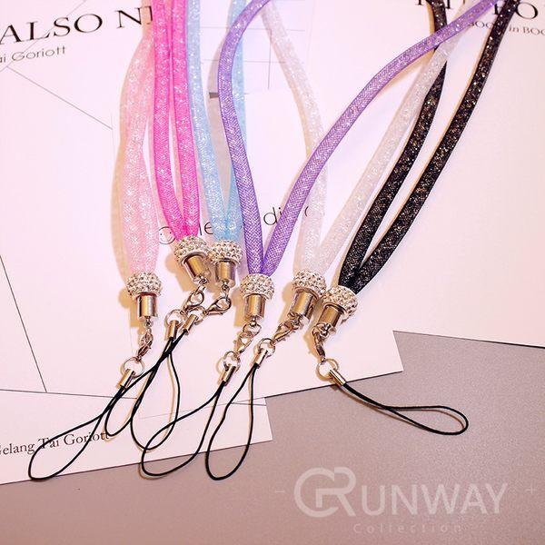 【R】炫彩奢華 水鑽掛繩 相機 長掛繩 手機掛繩  閃耀光彩手機吊飾 尼龍網管水晶 通用掛繩