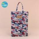 手提包 包包 防水包 雨朵小舖M384-001 花漾單提大扁包-白排隊貓(紅)02505 funbaobao