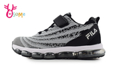 FILA 中大童 漩渦織線 緩震慢跑鞋 足弓機能鞋 運動鞋 P7649#黑灰◆OSOME奧森鞋業