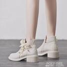 小香風高跟短靴女冬新款韓版百搭短筒馬丁靴女春秋單靴女靴子 秋季新品