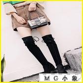 MG 膝上靴-過膝韓版顯瘦長筒彈力粗跟平底保暖靴