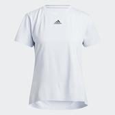 Adidas HEAT.RDY 女裝 短袖 T恤 訓練 乾爽 加長後襬 胸前小LOGO 淺藍【運動世界】H20747