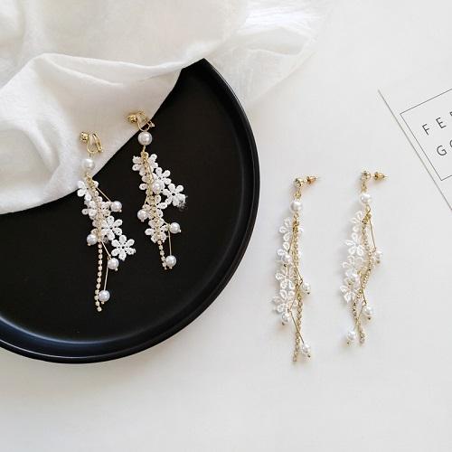 【NiNi Me】夾式耳環 甜美蕾絲珍珠水鑽流蘇夾式耳環 夾式耳環 E0135