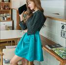 女生長袖細條紋修身連衣蓬蓬裙DL8810『黑色妹妹』