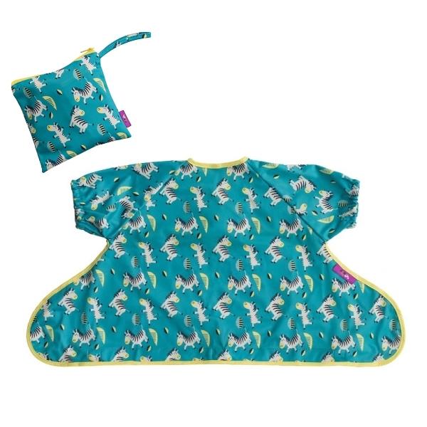 英國 Tidy TOT 短袖防髒吸盤圍兜-可愛斑馬