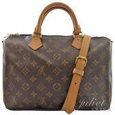 茱麗葉精品 二手精品 【9成新】 Louis Vuitton M40391 Speedy 30 經典花紋附背帶手提包(附銷組)