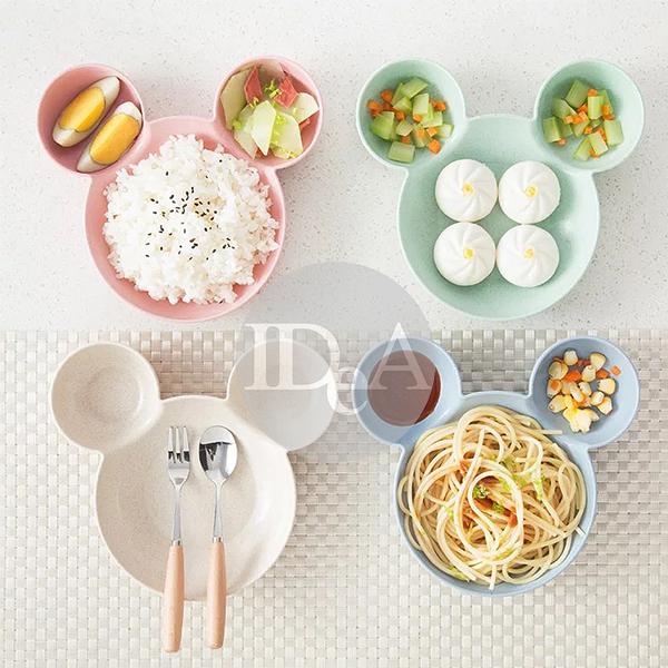 迪士尼 環保小麥秸稈材質米奇造型 碗 盤 防摔  兒童餐具 寶寶 分隔盤 早餐