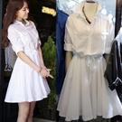 襯衫洋裝 超仙白色連身裙女2021夏季新款韓范文藝修身顯瘦中長款a字襯衫裙 非凡小鋪