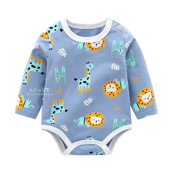 男孩卡通圖案長袖三角包屁衣 藍色動物 連身衣 嬰兒裝