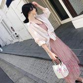 2018春夏新款ins超火沙灘裙女套裝度假過膝長裙吊帶連身裙 洋裝兩件套