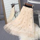 小碎花繡花網紗蓬蓬裙刺繡百褶裙半身裙