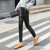 哈倫褲秋韓國高腰寬鬆顯瘦外穿pu皮褲休閒蘿蔔九分女褲子 可可鞋櫃
