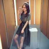 網紗連衣裙兩件套女夏季新款韓版潮中長款半身裙時尚套裝裙子(全館滿1000元減120)