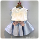 2021韓版女童中小童夏季新款兒童無袖襯衫短裙套裝女寶寶兩件套潮 蘿莉新品