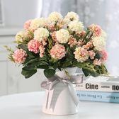馥郁仿真花玫瑰花藝套裝花卉盆栽含花瓶假花裝飾絹花客廳餐桌擺件 【PINKQ】