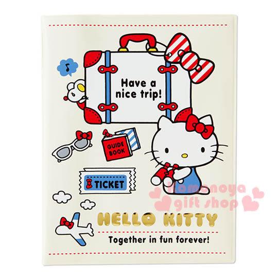 〔小禮堂〕Hello Kitty 護照套《白.行李箱.墨鏡》旅行護照夾 4901610-59422