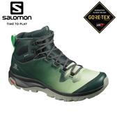 【SALOMON 索羅門 女 VAYA GTX中筒登山鞋《灰綠/石灰綠/影黑》】409849/防水越野鞋/戶外健行鞋