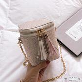 水桶包 高級感洋氣女包韓版百搭亮片小方包包流蘇鏈條包斜背小包 - 歐美韓