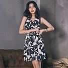 無袖洋裝小禮服 2021夏季款韓版輕熟風御姐氣質v領系帶印花無袖a字裙碎花連身裙子