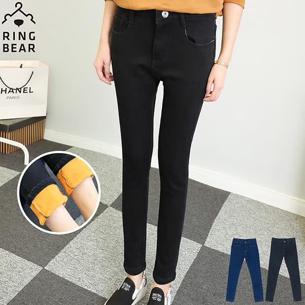 刷毛牛仔褲--提臀顯瘦禦寒保暖前後雙口袋窄管撞色內刷毛牛仔長褲(黑.藍S-5L)-N89眼圈熊中大尺碼◎