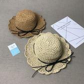 兒童草帽女童沙灘帽親子遮陽帽春夏天太陽帽寶寶手工可折疊大沿帽【小梨雜貨鋪】