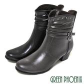U15-20035 女款全真皮低跟短靴靴  垂墜水鑽抓皺線條繞踝金屬釘扣全真皮低跟短靴【GREEN PHOENIX】