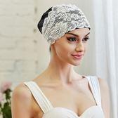 泳帽蕾絲泳帽女時尚可愛長發護耳不勒頭PU防水布料加大溫泉游泳帽-美物居家館