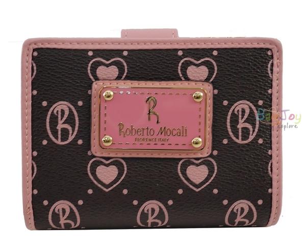 Roberto Mocali 諾貝兔 咖啡桃心系列 拉鍊零錢袋扣式短夾(RM-52201)