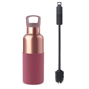 【HYDY】時尚保溫瓶 酒紅-蜜粉金瓶 (480ml) + 專用刷具