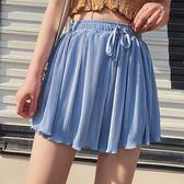 褲裙 素色 百摺 寬褲 短褲 鬆緊腰 抽繩 綁帶 褲裙【YF834】 BOBI  09/13