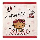 〔小禮堂]Hello Kitty 純棉割絨方形毛巾《粉棕.坐泳圈》34x36cm.手帕.方巾.丸真毛巾 4992272-68068
