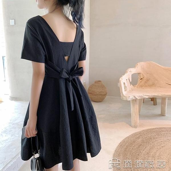 小禮服 洋裝 法式復古黑色小禮服赫本風小黑裙短裙設計感露背心機洋裝 小個子 【618特惠】