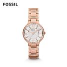 FOSSIL VIRGINIA 鑲鑽不鏽鋼女錶-玫瑰金 30mm ES3284