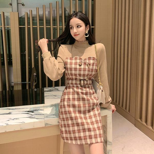 VK旗艦店 韓國風高領復古拼接格紋長袖洋裝