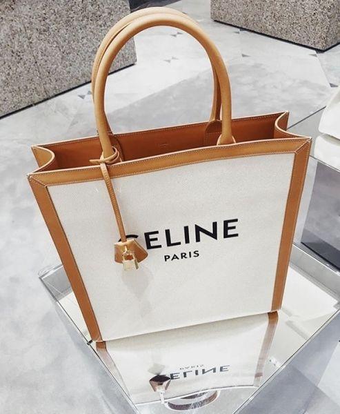 ■專櫃78折■ Celine 瑟琳 全新真品印花帆布及小牛皮直式Cabas托特包