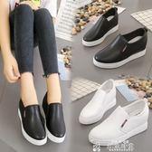 女生帆布鞋內增高休閒鞋夏季新款小白鞋子懶人鞋厚底春秋單鞋一腳蹬女鞋