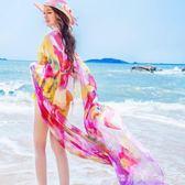 絲巾女士春秋薄款海邊超大防曬披肩媽媽款紗巾圍巾百搭長款沙灘巾漾美眉韓衣