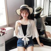 女夏裝新款雪紡衫外搭披肩女短袖寬鬆沙灘防曬衣服空調開衫潮 全館免運